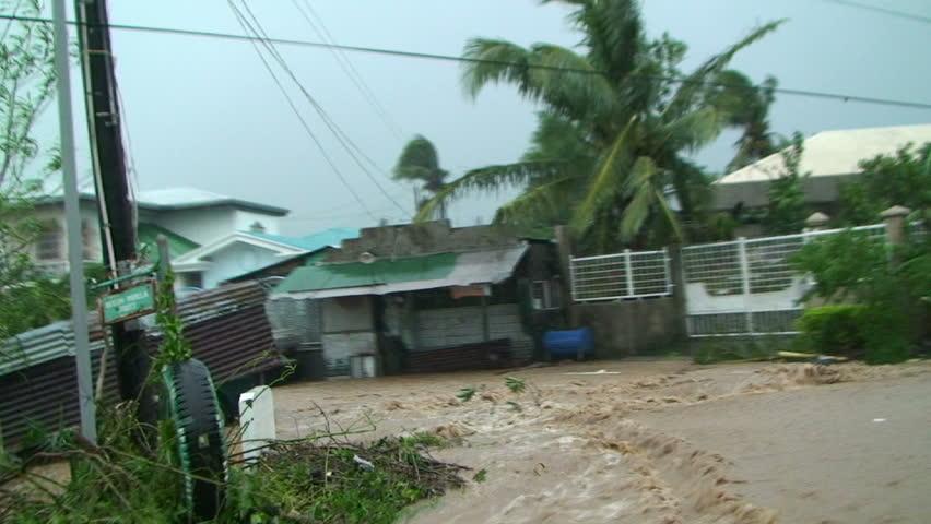 Driving Through Dangerous Flash Flood In Tropical Storm.