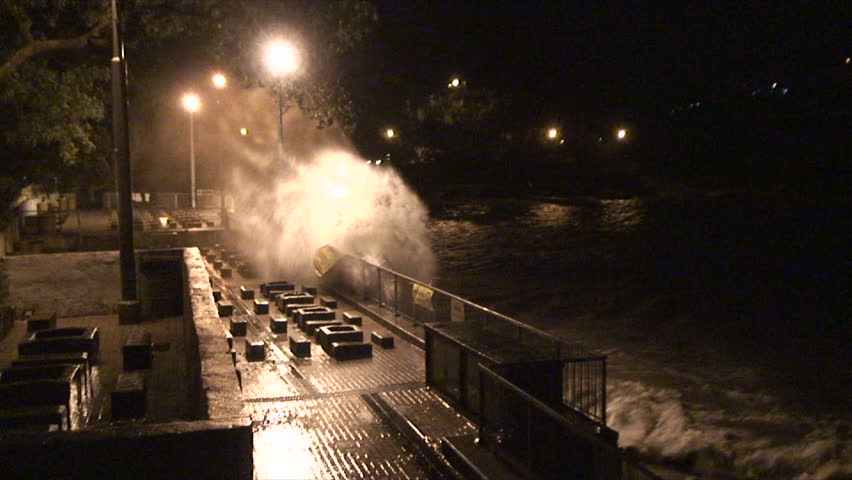 Hurricane Wind And Waves Lash Waterfront.