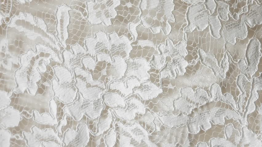 intricate lace wedding dress  closeup panning