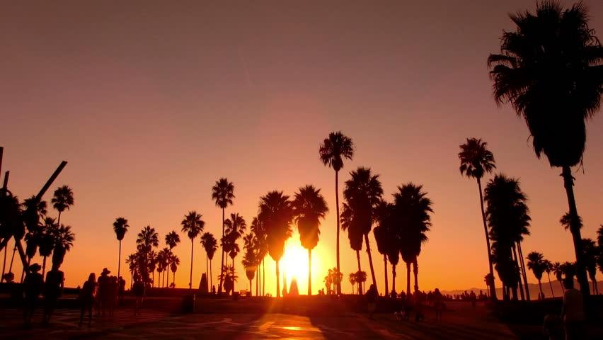 Sunset Beach 08 Silhouette Venice California Stock Footage Video 3366068