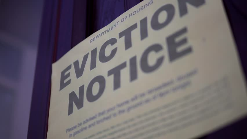 House Eviction Sign For Repossession From Bank, Home Mortgage Or Rent Debt 4K. Economic Recession.