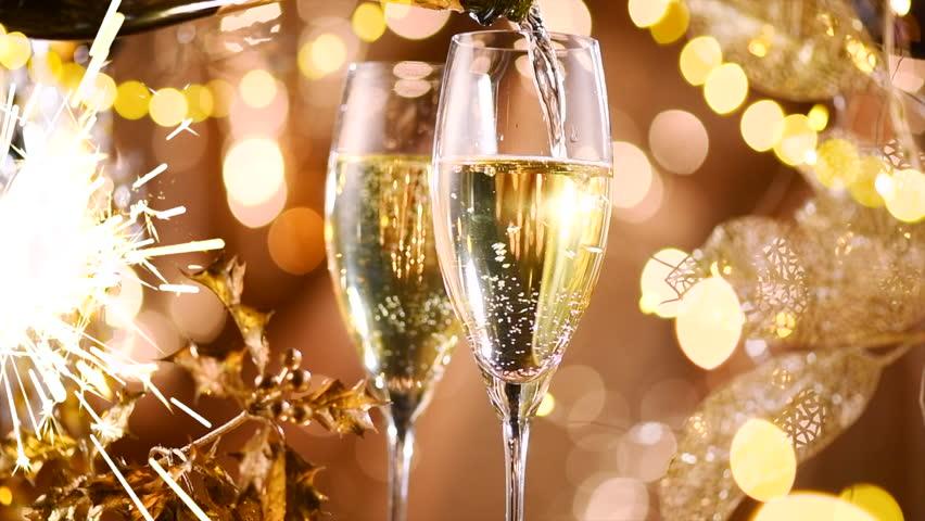 Открытка салют и шампанское, открытки дню рождению