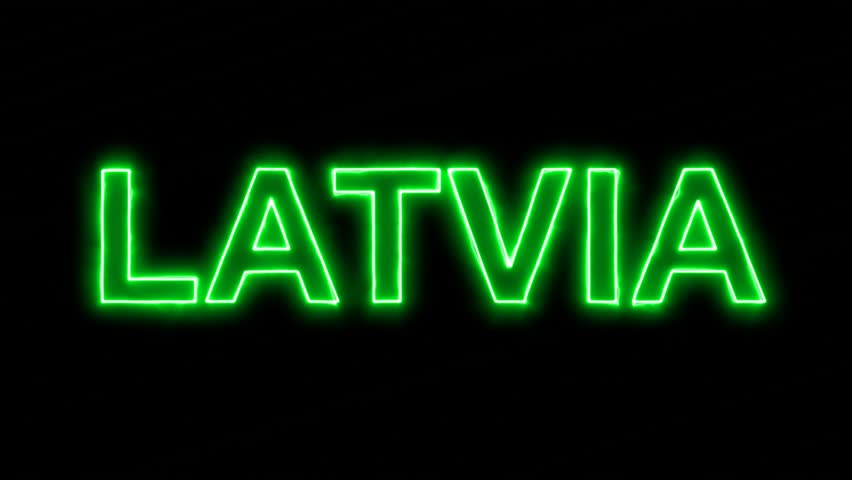 Neon flickering green country name LATVIA in the haze. Alpha channel Premultiplied - Matted with color black