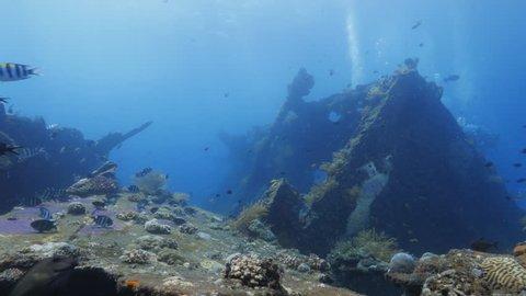 USS Liberty Shipwreck at Tulamben in Bali, Indonesia Lock shot.