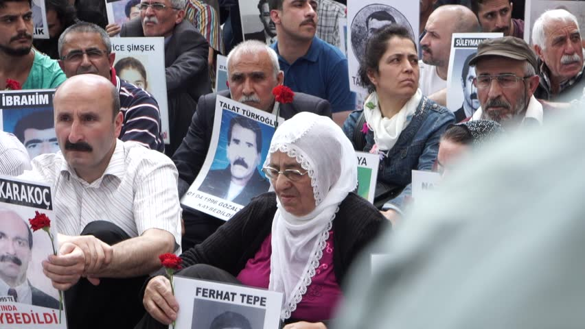 Istanbul Turkey - 28.05.2016 -Saturday Mothers gathered at Galatasaray Square. | Shutterstock HD Video #33705118