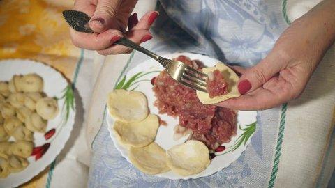 Pelmeni - traditional Russian food. Female's hands making dumplings. Close-up.