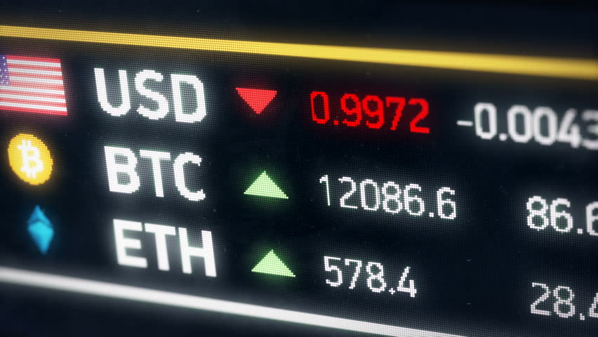 Bitcoin going up compared to US dollar, cryptocurrency prices rising on market. Digital money value rising against American dollar, cryptocurrency gaining value   | Shutterstock HD Video #33718408