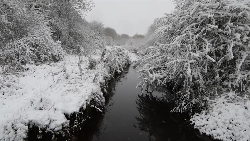 Snowfall in a heavy snowy day in Coventry, United kingdom. Wyken Croft nature park covered in ice. Christmas time in England.