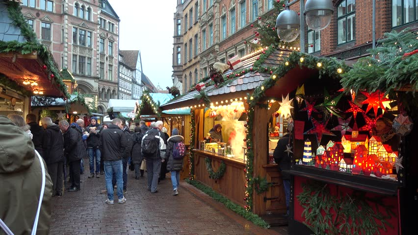 Hannover, Germany - December 01, 2017: Christmas Market in the Old Town of Hannover, Lower Saxony
