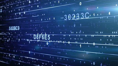 digital code looping blue background