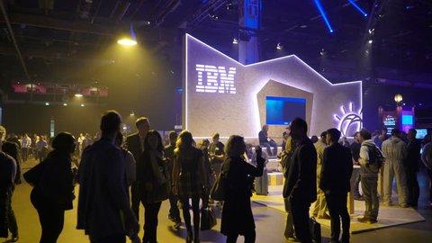 HELSINKI, FINLAND - NOVEMBER 30, 2017: Pavilion IBM in the business forum. Startup and tech event Slush in Messukeskus Expo center. Non-profit event for entrepreneurs, investors, students.