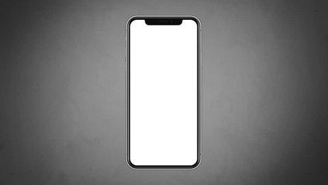 4K Illustration of Modern Fullscreen Smartphone, Mobile Design Grey Gradient