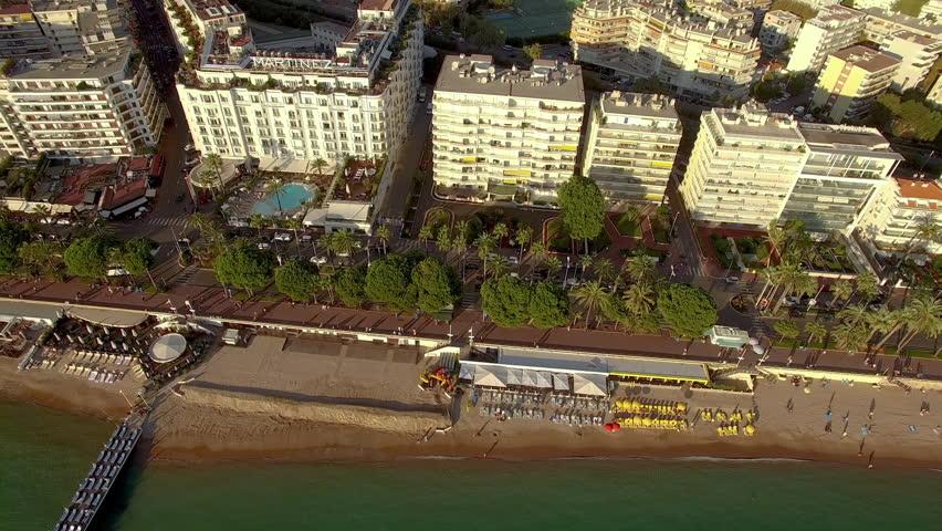 Aerial shot tracking above the Boulevard de la Croisette