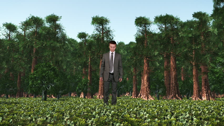 Businessman in Forest with Ivy Growing, Caught in Time