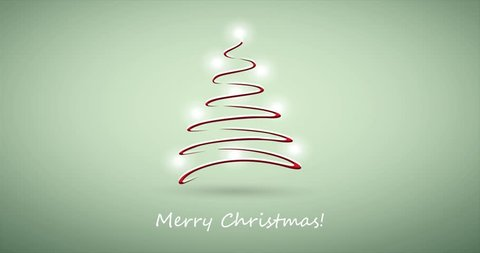 Green Merry Christmas Holiday Video Animation for Your Best Wishes Messages with Christmas Tree Made of Shiny Light Ornaments