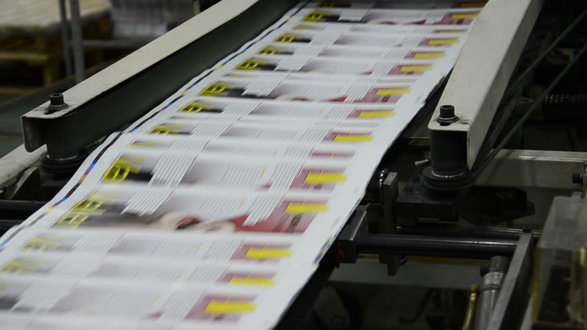 print plant factory, magazine line collecting after passing the press rollers