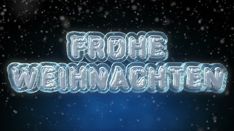 Merry Christmas 3D Text Looping Animation in German Language - Frohe Weihnachten - Frozen Ice Text Effect With Snow Falling - 4K Resolution Ultra HD