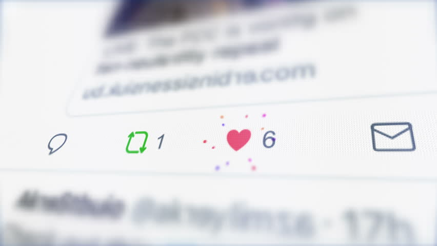 London / UK - Dec 14 2018: Editorial Animation of social network notifications and increasing counters on the LCD screen. Close up to Like, Retweet and Reply Icons. Successful and Popular New Tweet.