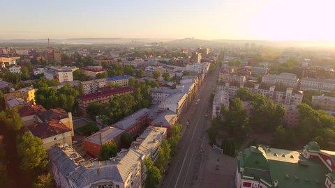 Aerial photography. Morning of a big city. Summer. Irkutsk