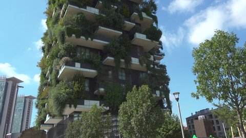 Bosco Verticale Or Vertical Forest  Residential Towers In Porta Nuova District, Milan, Italy. Tilt up camera shot.
