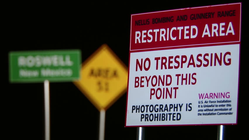 Roswell, Area 51, Restricted Area - Signs