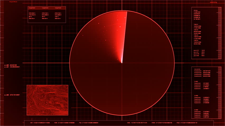 airport radar screen (loop, red)