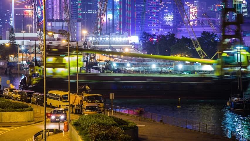 Time Lapse of night shot construction ship parking in Hong Kong. Photo Sequence shot on DSLR camera and Post-Production in After Effects