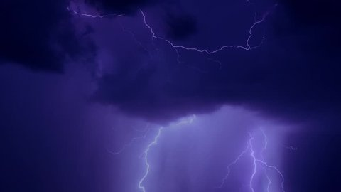 BEAUTIFUL LIGHTNING BOLT IN DARK EVENING STORMY CLOUDS, STRONK STRIKE IN CLOUD. Extreme lightning storm timelapse over the moonlit, Time lapse of severe thunderstorm clouds at night with lightning.