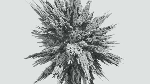 Animation of a monochrome explosion of a powder.