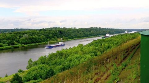 Kiel ship Canal seen from high point of view, 1080 HD footage 25 fps