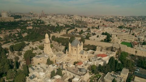 Aerial drone Israel Jerusalem. King David's Tomb is a site considered by some to be the burial place of David, King of Israel, according to a tradition beginning in the 12th century.