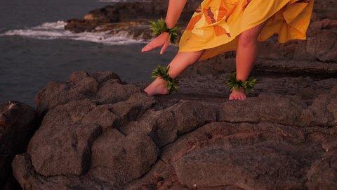 Hula Dancer, Young Female, Ocean Island Backdrop, Slow Motion, Sunset, Medium Angle