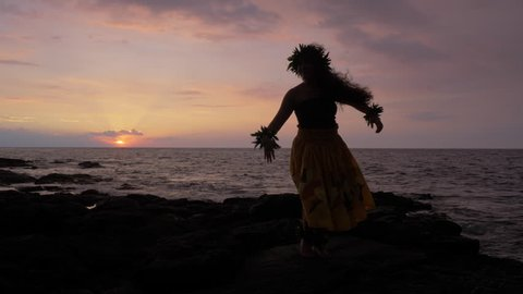 Hula Dancer, Young Female, Ocean Island Backdrop, Slow Motion, Sunset, Wide, Silhouette