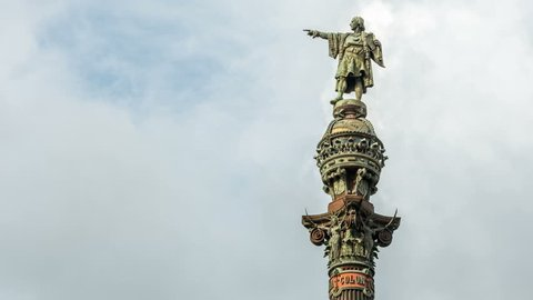 Christopher Columbus Monument in Barcelona. Bronze statue represents Christopher Columbus pointing towards the New World with his right hand.