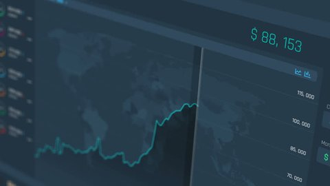 Stock market price going up, chart showing extreme growth, financial success.  Web interface showing extreme price raise, Bitcoin, Internet currency