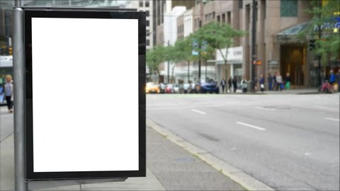 Bus Stop Blank Billboard Advertisement Space, Empty Shelter Sign
