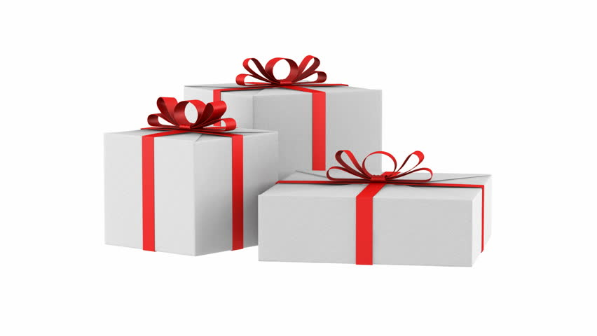 Three white gift boxes with red ribbon and bow loop rotate on three white gift boxes with red ribbon and bow loop rotate on white background hd negle Choice Image