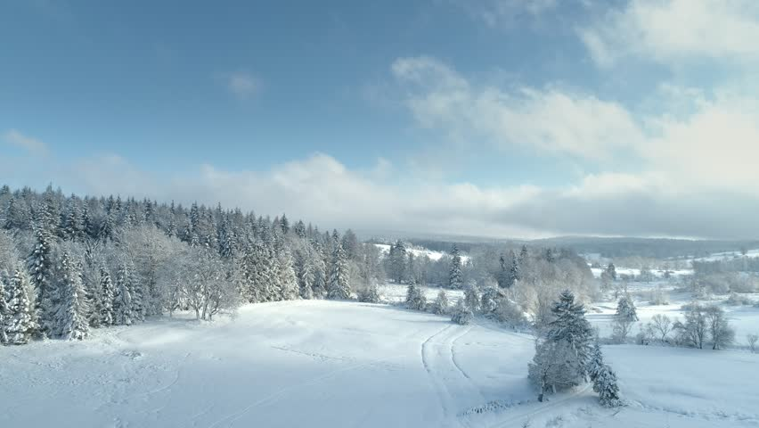 Aerial shot along the meadow among the Carpathian Mountains in winter 4K | Shutterstock HD Video #34148818