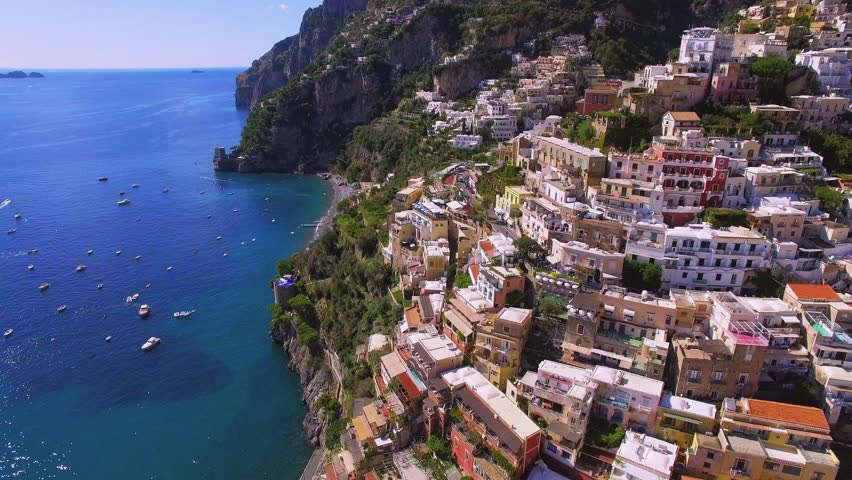 Aerial view of Positano, beautiful Mediterranean village on Amalfi Coast (Costiera Amalfitana) in Campania, Italy, hotel and villas conept travel tour