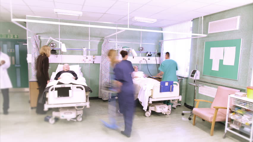 Time lapse footage of the bustle and activity on a UK hospital ward