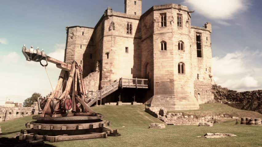 Catapult Wall Destruction Debris Castle Smoke Medieval 3D Renderings Animations