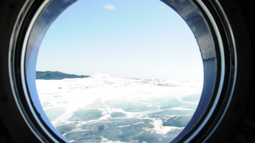 Ocean waves and sky through the window. Antarctica