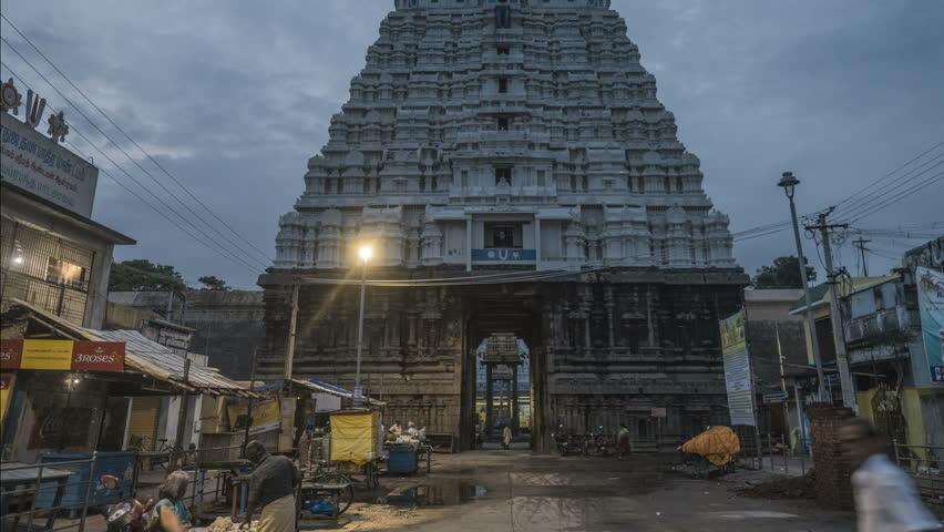 Kanchipuram - 01.10.2017: Sunrise over Varadaraj temple in Kanchipuram, south India, 4k time lapse footage