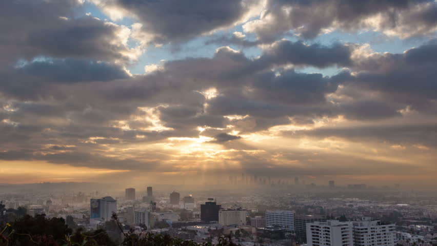 Sunrise over Los Angeles cityscape. Zoom in on downtown. Timelapse. | Shutterstock Video #3424058