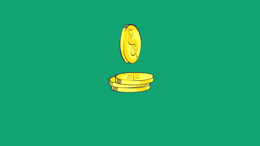 Gold coins fall in stack animation. HD mov file with alpha channel. Black background is a transparency