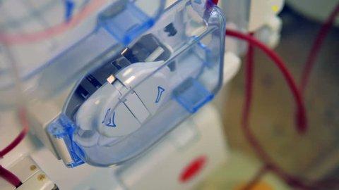 Hemodialysis medical equipment in action. Modern medical equipment concept.
