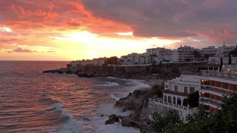 Typical houses along the Costa del Sol coastline in Spain. Filmed in Nerja.