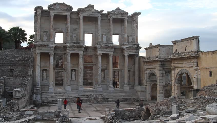 Facade of library and ruins in Ephesus, Turkey