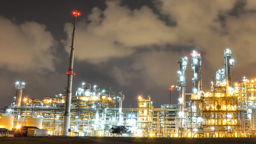 Night scene of Oil and Chemical Plant - Time Lapse | Shutterstock HD Video #3427631