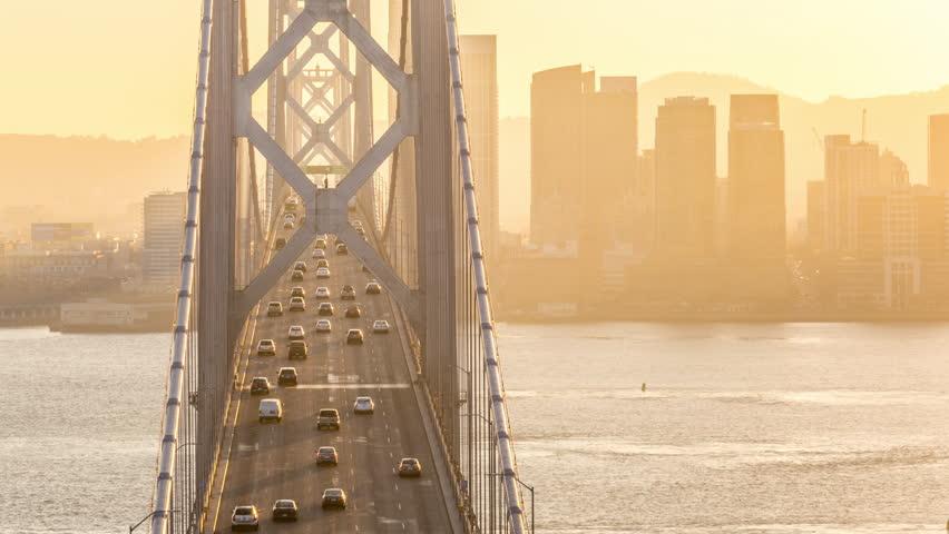 San Francisco Oakland Bay Bridge at Golden Hour Timelapse